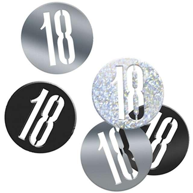 "Konfetti ""18 w kółku"", czarno-srebrne, UNIQUE, 14g"