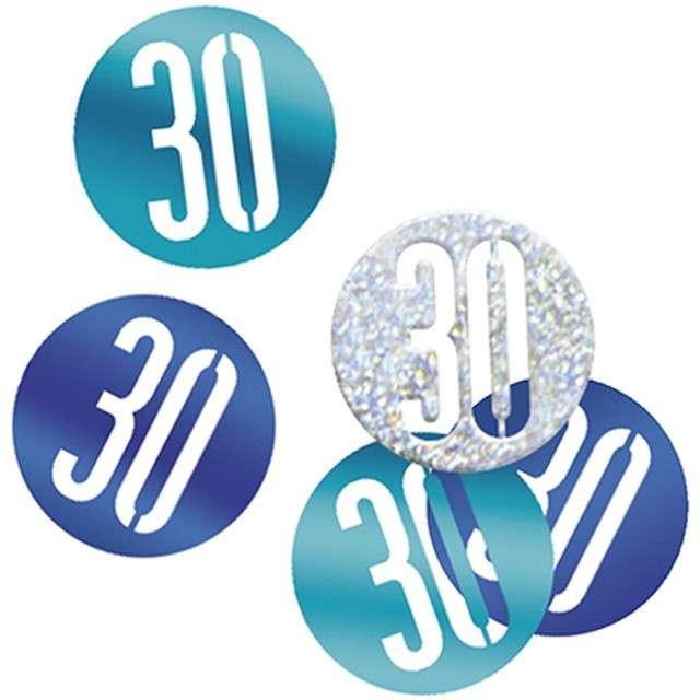 "Konfetti ""30 w kółku"", niebiesko-srebrne, UNIQUE, 14g"