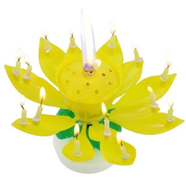 """Świeczka kwiatek grający """"Happy birthday"""", żółta, Tamipol"""