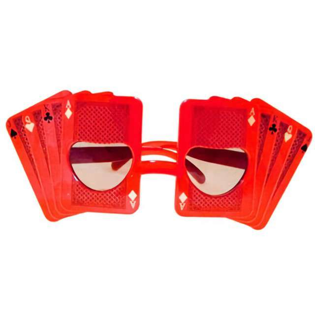 """Okulary party """"Karty"""", czerwone, Tamipol"""
