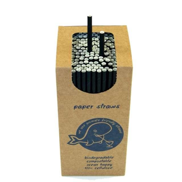 Słomki papierowe Ekologiczne czarne Tamipol 205cm 250szt