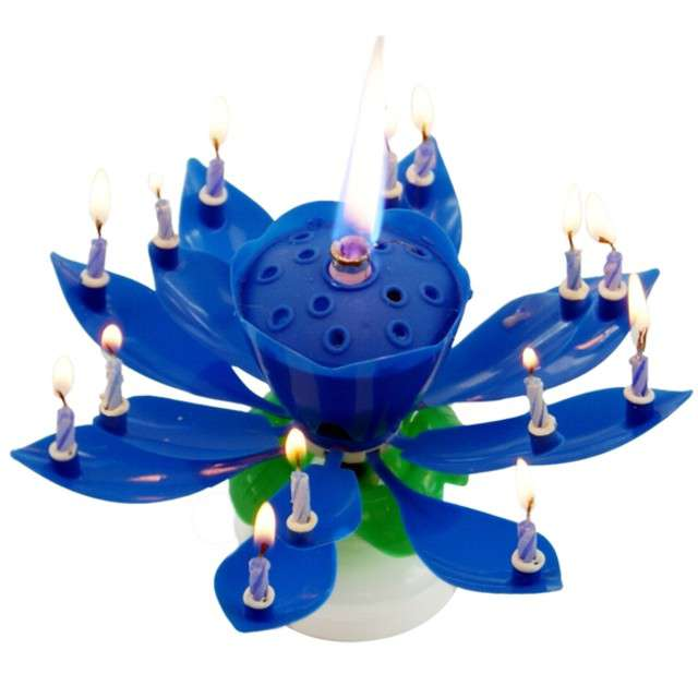 """Świeczka kwiatek grający """"Happy birthday"""", niebieska, Tamipol"""