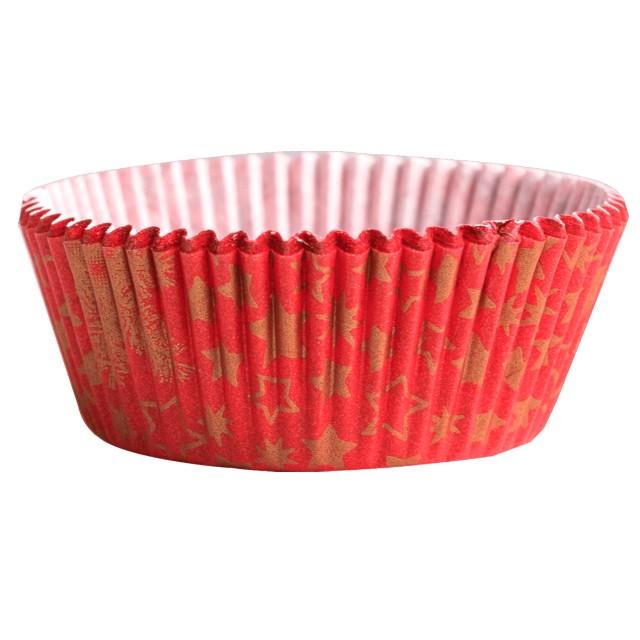 Foremki na muffinki Złote gwiazdki czerwony Demmler 60szt