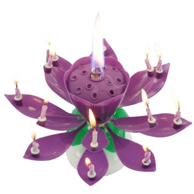 """Świeczka kwiatek grający """"Happy birthday"""", fioletowa, Tamipol"""