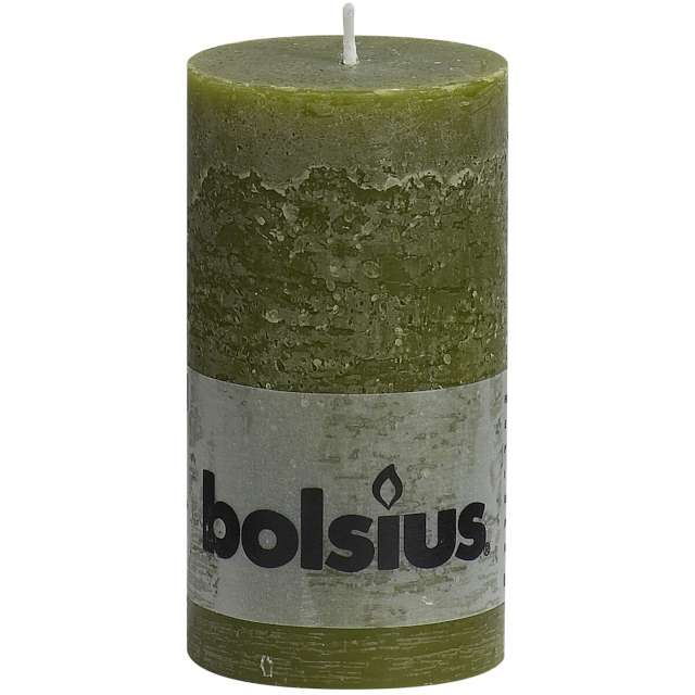 "Świeca pieńkowa ""Rustic"", oliwkowa, Bolsius, 130/68mm"