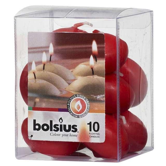 """Świeca """"Pływająca"""", czerwona, Bolsius, 30/45 mm, 10 szt"""
