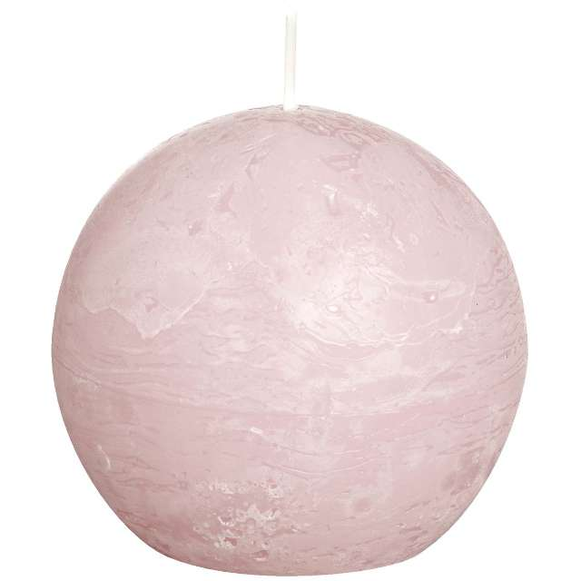 "Świeca ""Rustic Kula"", 80mm, różowa pastelowa, Bolsius"