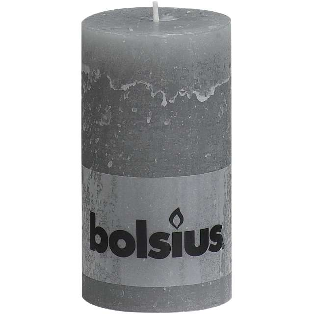 "Świeca pieńkowa ""Rustic"", szara jasna, Bolsius, 130/68 cm"