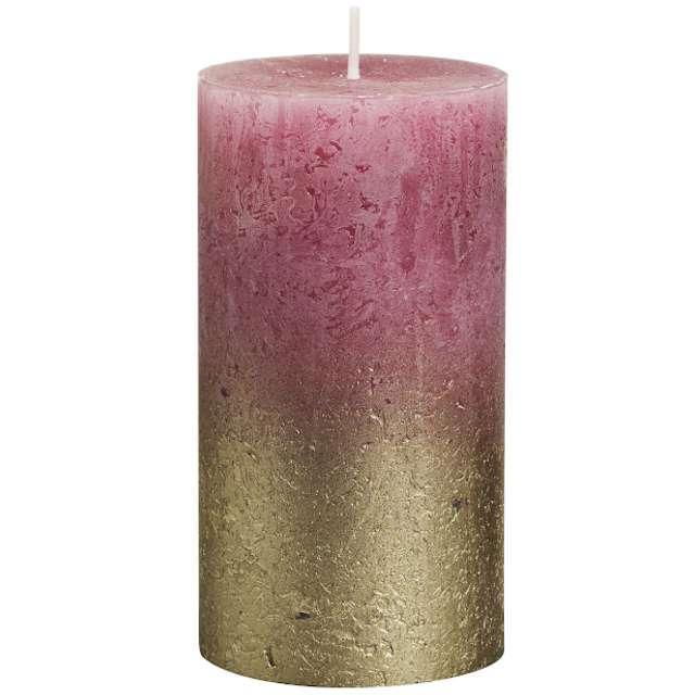 """Świeca pieńkowa """"Rustic Ombre"""", złoto różowa, Bolsius, 130/68mm"""