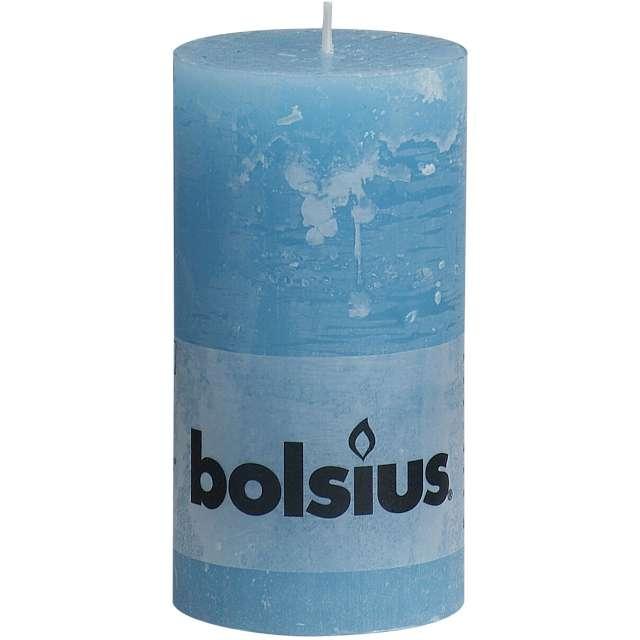 Świeca pieńkowa Rustic błękitna Bolsius130/68mm