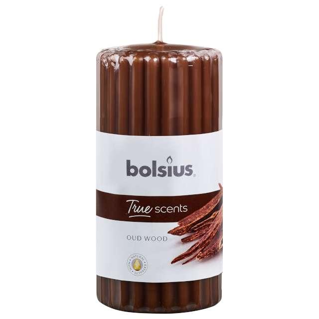 """Świeca zapachowa """"Pieńkowe Drzewo Agarowe"""", brązowa, Bolsius, 120/58"""