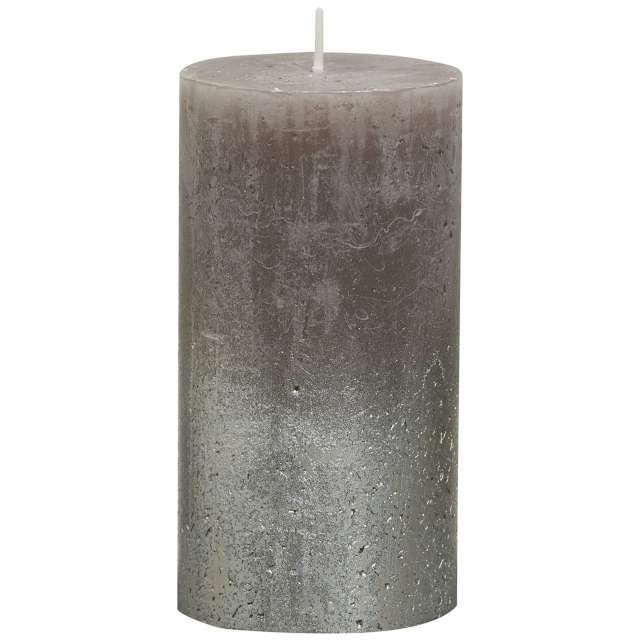 "Świeca pieńkowa ""Rustic Metallic"", taupe, Bolsius, 130/68mm"