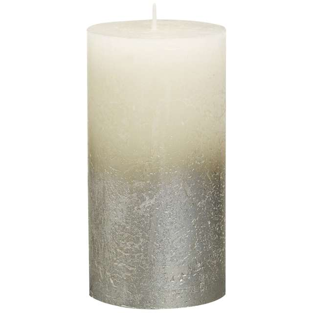 "Świeca pieńkowa ""Rustic Ombre"", kremowo srebrna, Bolsius, 130/68mm"