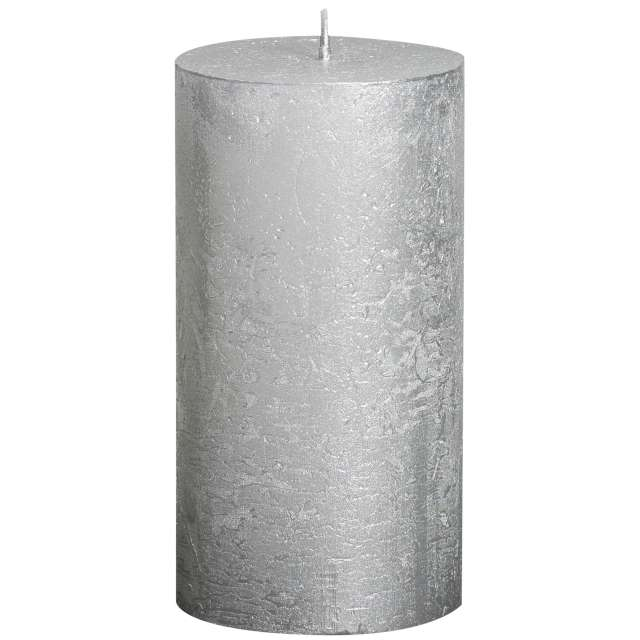 "Świeca pieńkowa ""Rustic Metallic"", srebrna, Bolsius, 130/68mn 130/68"