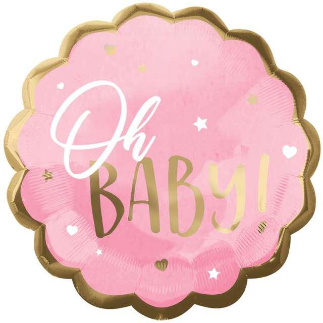 "Balon foliowy ""Baby Shower - Oh Baby!"", różowy, AMSCAN, 22"" SHP"