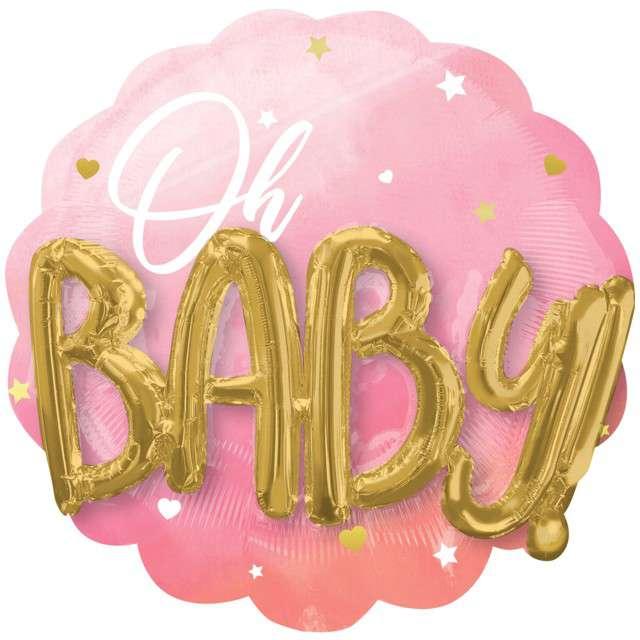 "Balon foliowy ""Oh baby"", różowy, Amscan, 30""x28"", SHP"