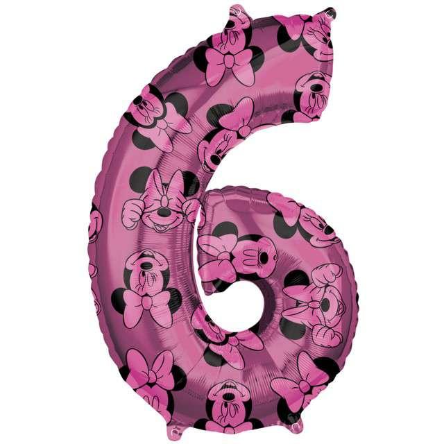 """Balon foliowy """"Cyfra 6 Minnie mouse"""", Amscan, 26"""", SHP"""