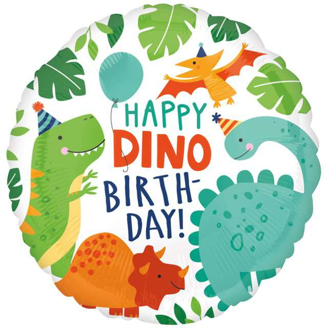 "Balon foliowy ""Happy Dino Birthday"", Amscan, 17"", RND"