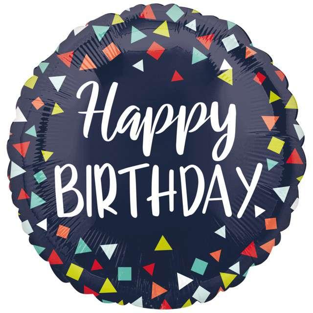 """Balon foliowy """"Happy Birthday czarny"""", Amscan, 17"""", RND"""