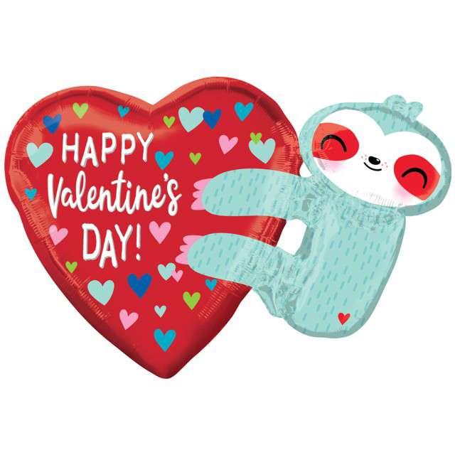 """Balon foliowy """"Walentynki serce z leniwcem"""", Amscan, 30""""x21"""", SHP"""