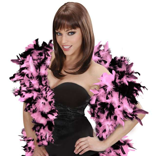 "Boa ""Deluxe"", różowo-czarny, Widmann, 65g, 180 cm"
