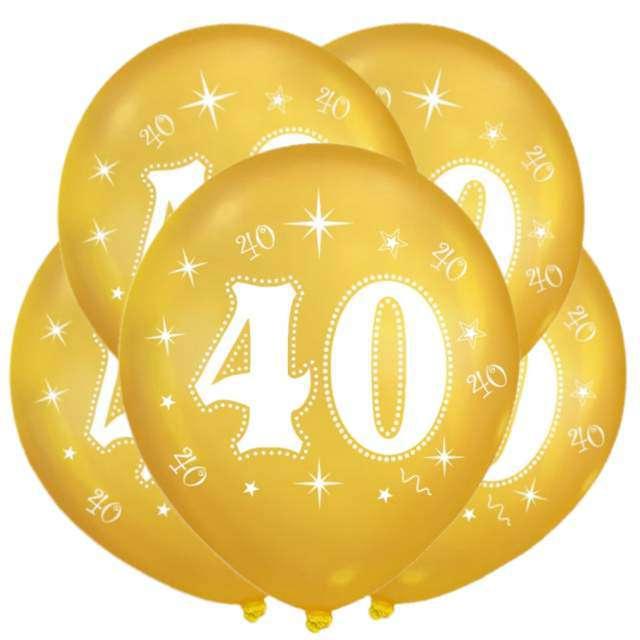 """Balon """"40 Urodziny"""", złoty, DekoracjePolska, 12"""", 5 szt"""