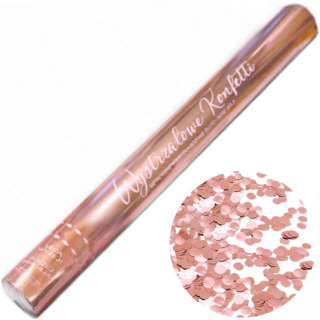 """Tuba strzelająca konfetti """"Metaliczne Kółeczka"""", różowe złoto, 60 cm, DekoracjePolska"""