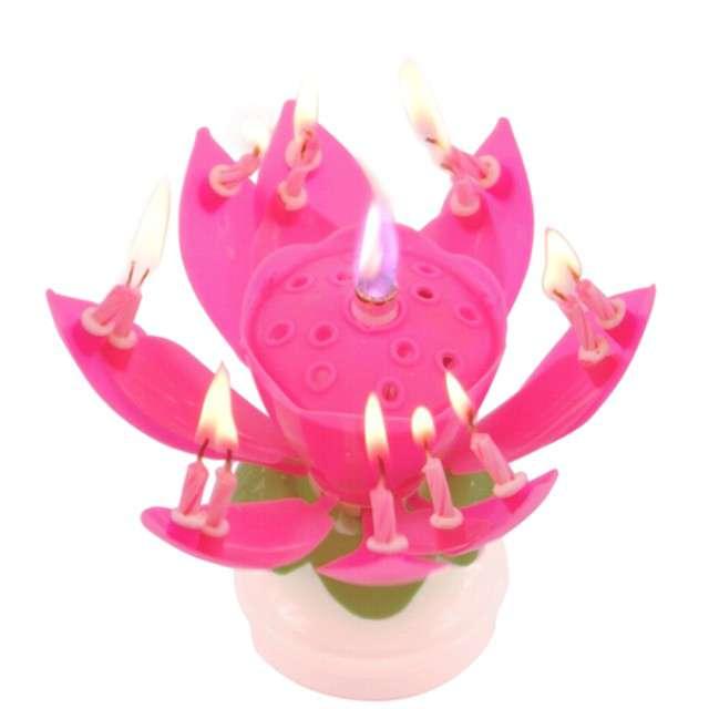"""Świeczka kwiatek grający """"Happy birthday"""", różowa, Tamipol"""