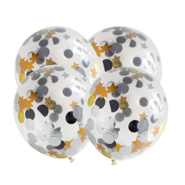 Balony z konfetti Classic złote i srebrne Folat 12 4szt.