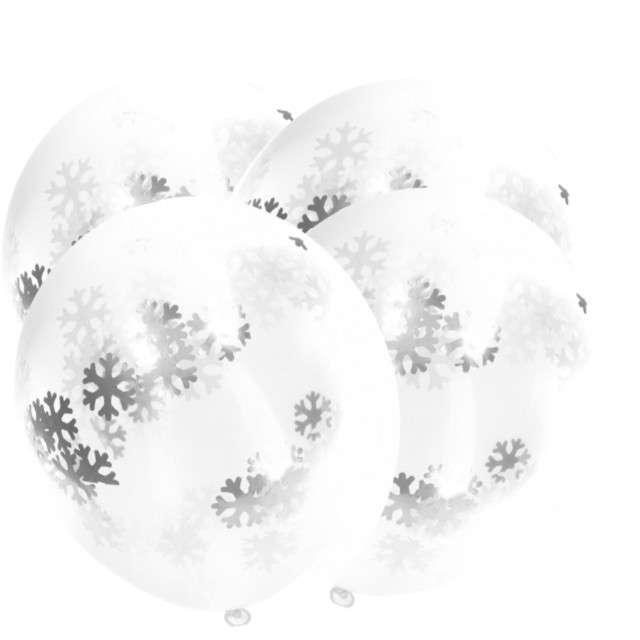 Balony z konfetti Classic płatki śniegu Folat 12 4szt.