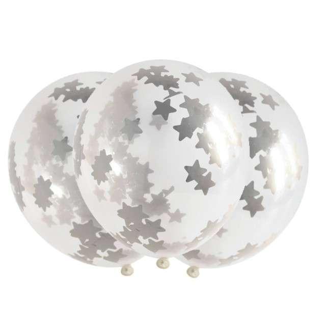 Balony z konfetti Classic srebrne gwiazdki Folat 12 3szt.