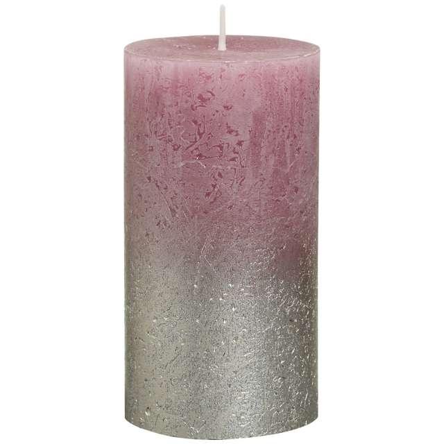 "Świeca pieńkowa ""Rustic Ombre"", różowo srebrna, Bolsius, 130/68mm"