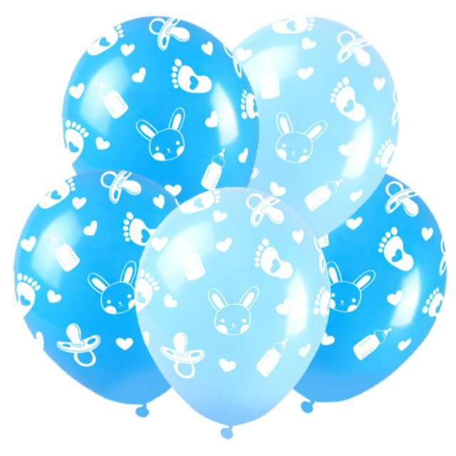 """Balony """"Baby shower"""", niebieskie, Arpex, 5 szt."""
