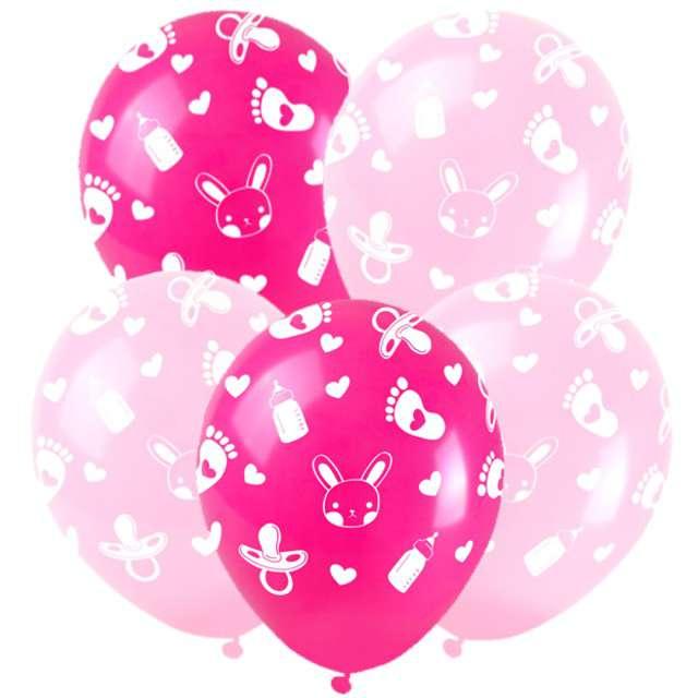 """Balony """"Baby shower"""", różowe, Arpex, 5 szt."""