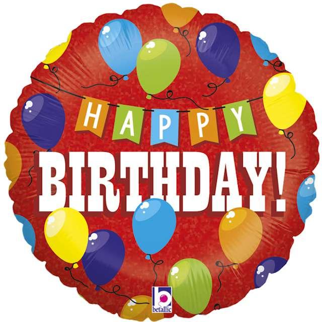 """Balon foliowy """"Happy Birthday Holo"""", czerwony,  Grabo, 18"""""""