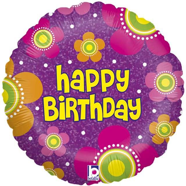 """Balon foliowy """"Happy Birthday z kwiatami"""", Grabo, 18"""", CIR"""