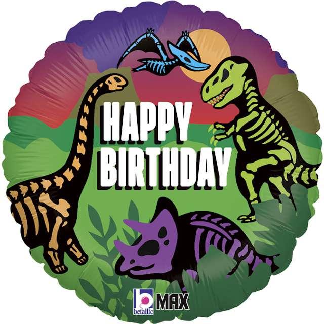"""Balon foliowy """"Happy Birthday Dinozaur"""", Grabo, 18"""", RND"""