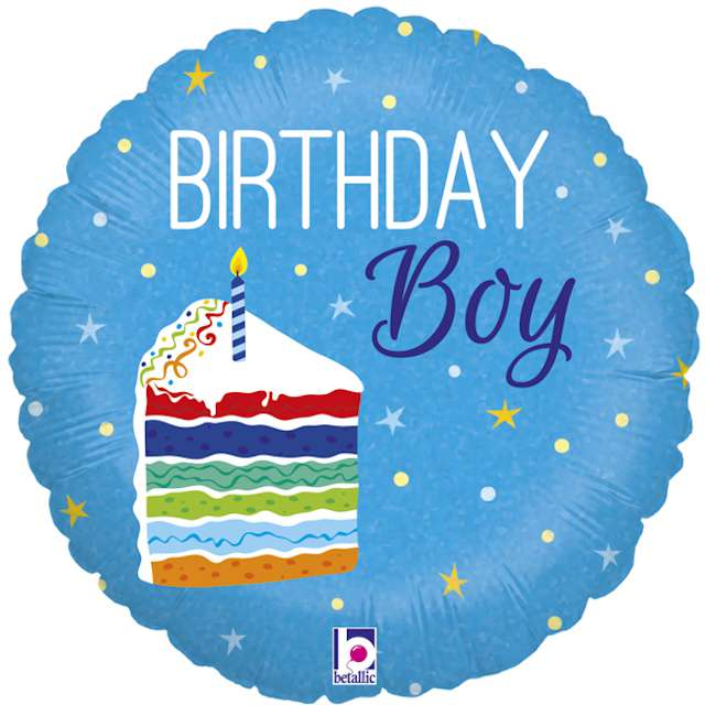 """Balon foliowy """"Birthday Boy"""", niebieski, Grabo, 18"""", CIR"""