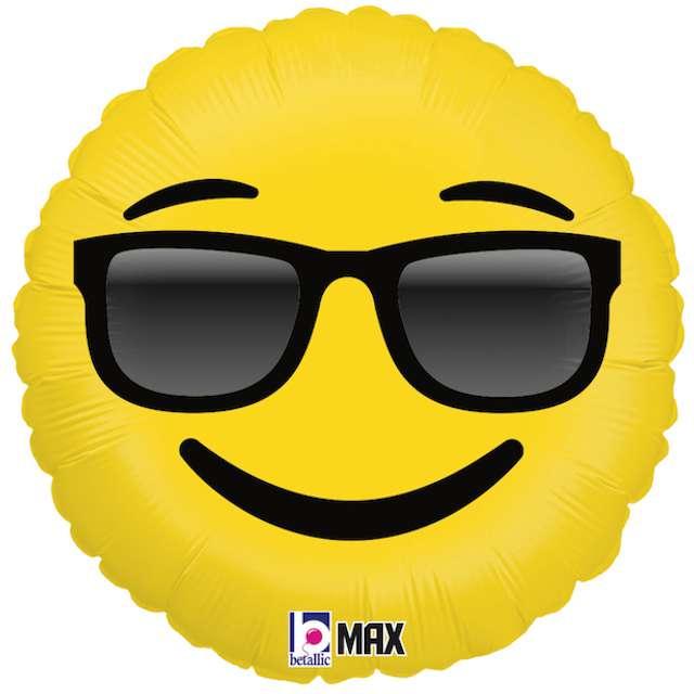 """Balon foliowy """"Emoji - Okulary"""", żółty, Grabo, 18"""""""