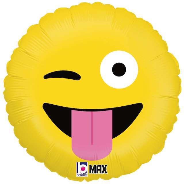 """Balon foliowy """"Emoji - Język"""", żółty, Betallic, 18"""""""