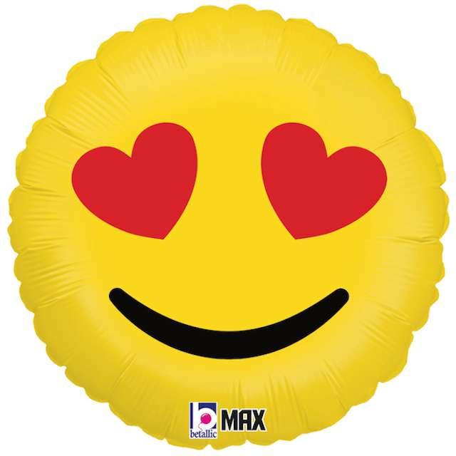 """Balon foliowy """"Emoji - Serduszka"""", żółty, Grabo, 18"""""""
