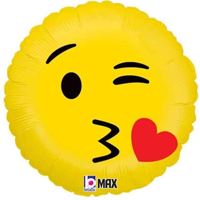 """Balon foliowy """"Emoji - Buziak"""", żółty, Grabo, 18"""""""
