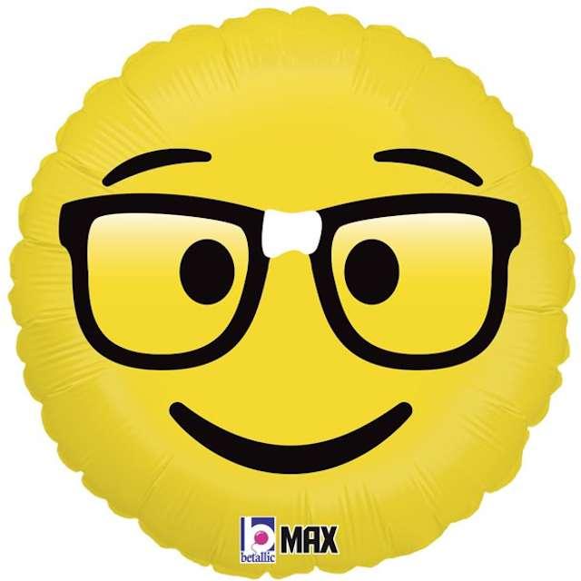 """Balon foliowy """"Emoji - Okulary Nerd"""", żółty, Grabo, 18"""""""