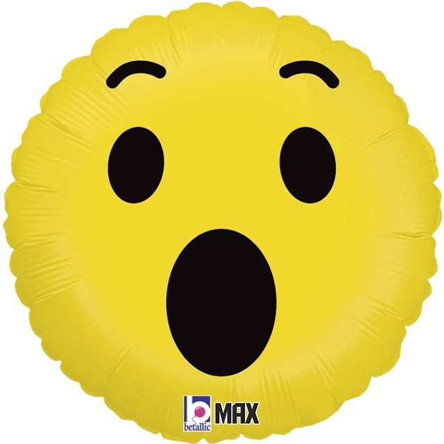 """Balon foliowy """"Emoji - Wow"""", żółty, Grabo, 18"""""""