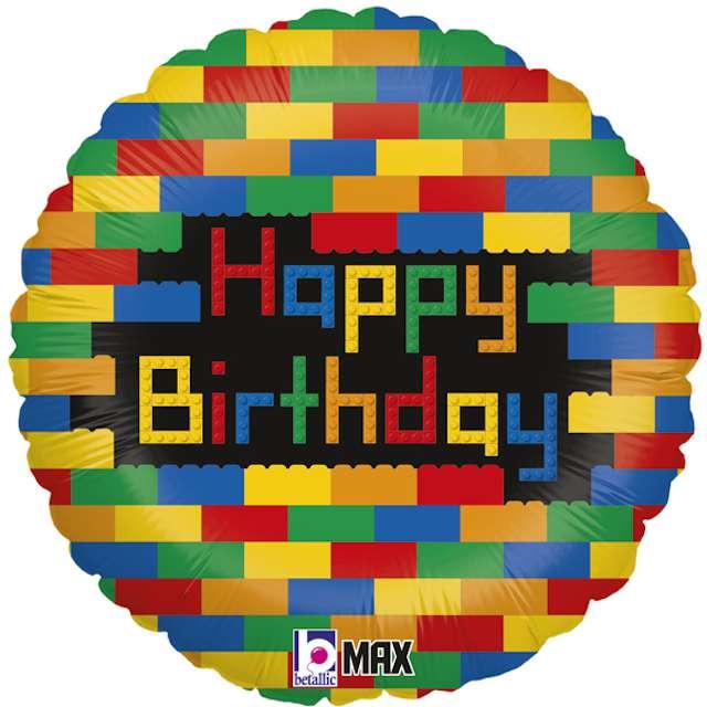 "Balon foliowy ""Happy Birthday - Klocki"", Grabo, 18"", CIR"