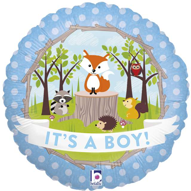 "Balon foliowy ""Baby Shower - Its a boy, Woodland"", Grabo, 18"", CIR"