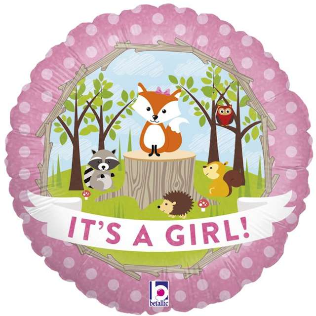 "Balon foliowy ""Baby Shower - Its a girl, Woodland"", Grabo, 18"", CIR"
