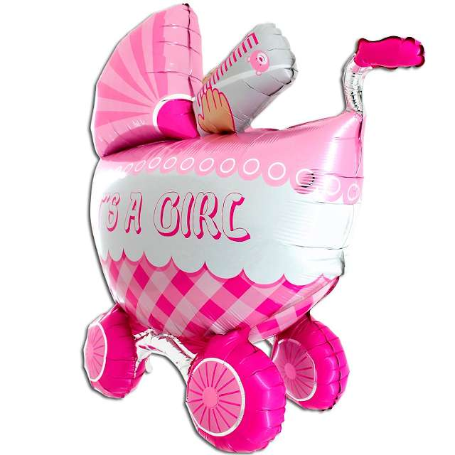 "Balon foliowy ""Baby Shower Girl - Wózek"", Grabo, 42"""