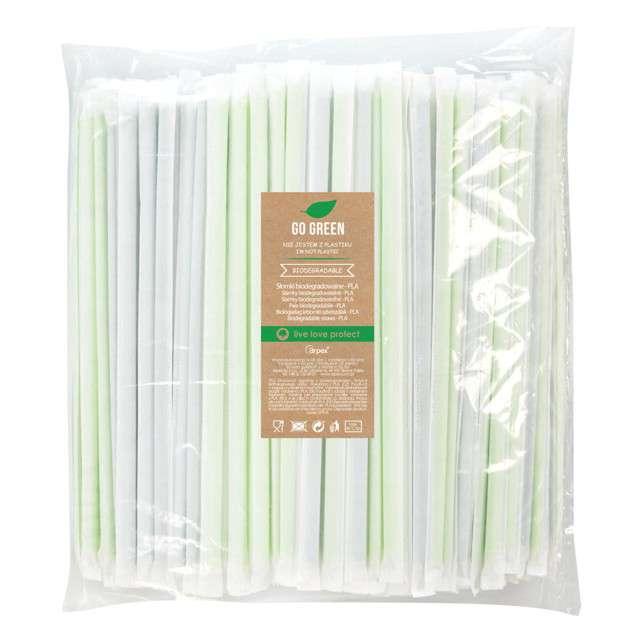 """Słomki łamane higieniczne """"Go Green"""", zielone, Arpex, 24 cm, 400 szt."""
