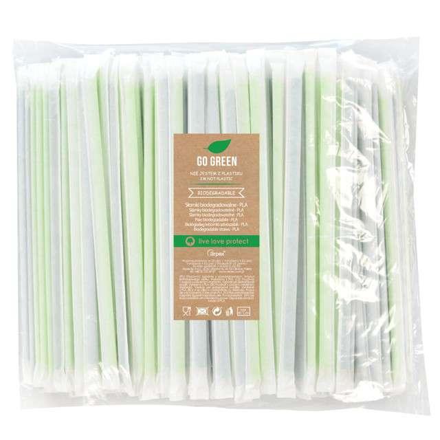 """Słomki proste higieniczne """"Go Green"""", zielone, Arpex, 20 cm, 400 szt."""